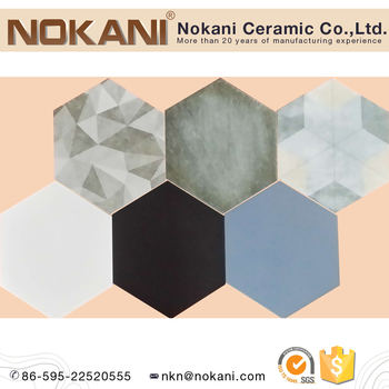 Multi Colors Hexagonal Ceramic Floor Tiles Glazed Flooring Tiles