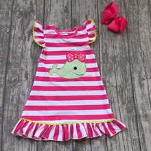 Hot sale stripes ruffle summer hand embroidery designs for baby girls dress