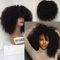 Wholesale kinky curly full lace wig Indian remy human hair black lace front short wigs