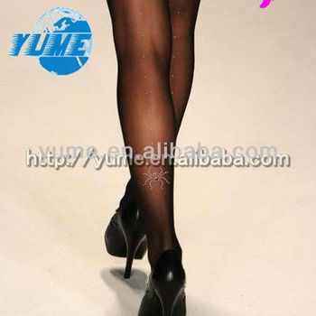 d6f6dccd3 NEW Woman Sexy Fashionable Sheer Pantyhose   Tights Leggings Tattoo  Stocking with Rhinestone spider black