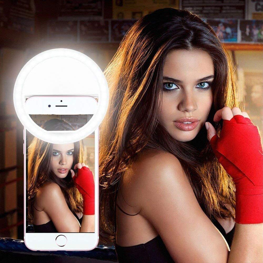 Selfie Ring Light, Kcandy Leadpo Selfie Light Ring USB charge Selfie Portable LED Ring Fill Light Camera Photography For IPhone Android Phone Clips on Night Ring Fill Light (White)