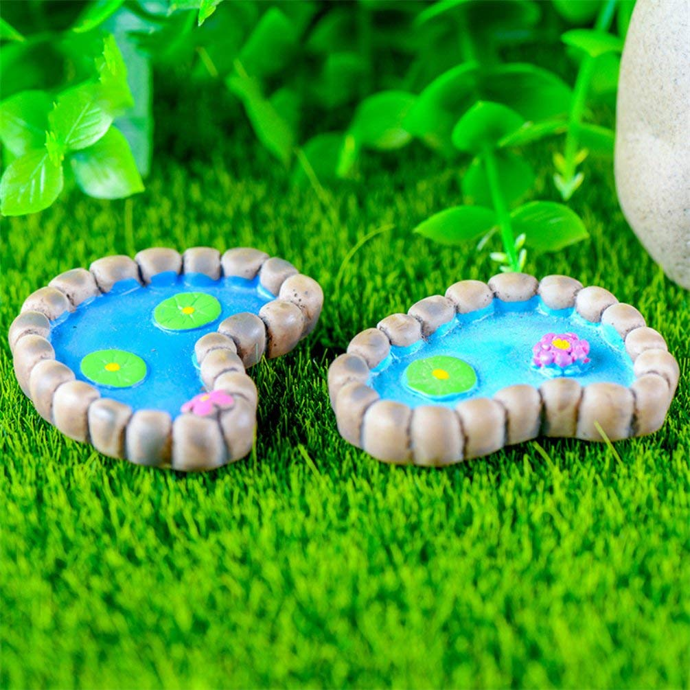 "Fiddlehead Fairy Village /""Mini Frog Pond/"" with Bonus Novelty Fairies Bill and"