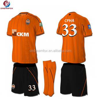 Custom design Bulk Black and Orange soccer jerseys fashion cheap club  uniform 87d2791bc