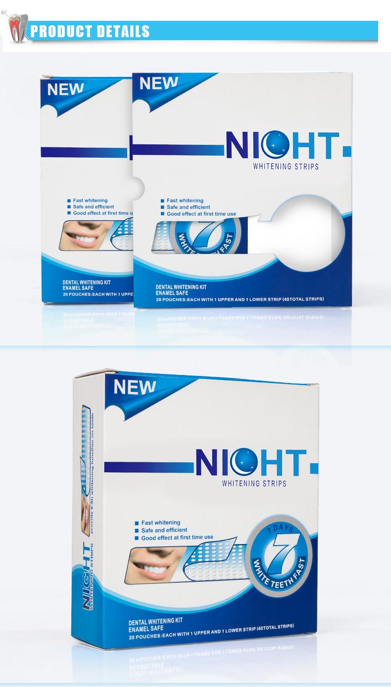Onuge di perossido di Idrogeno teeth whitening strisce kit di casa uso per la notte con la luce del led