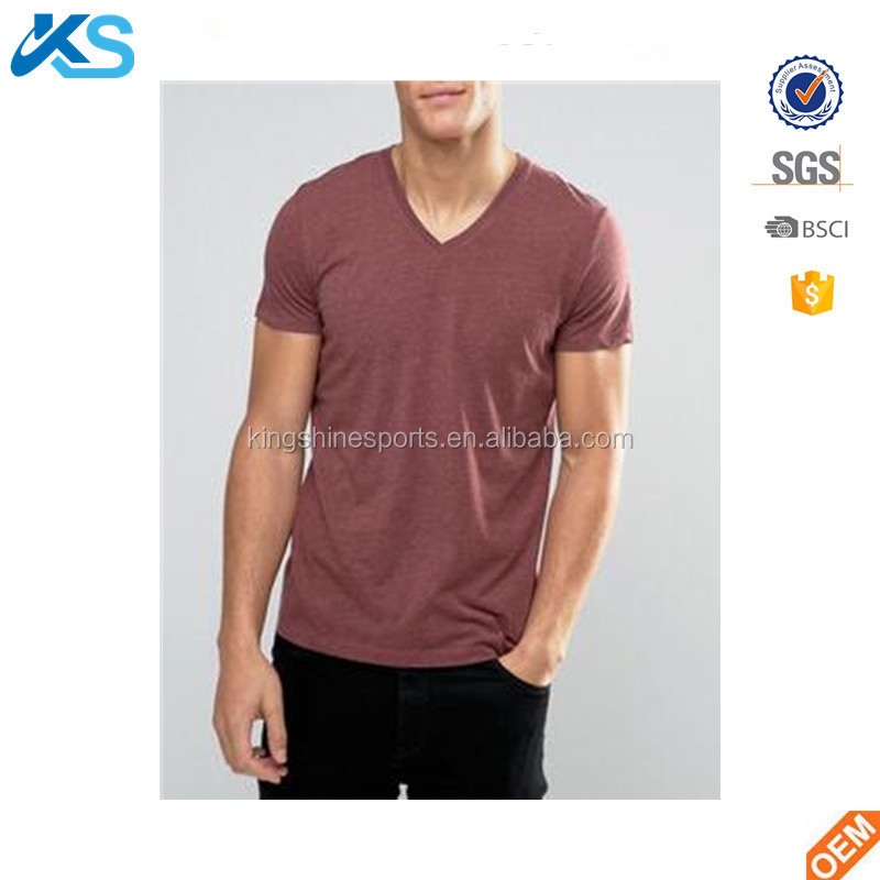 OEM China Manufacture Wholesale 50%cotton 50%polyester Men's Short Sleeve V Neck T-shirt Blank Plain Tee