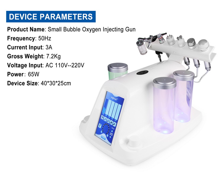 Professional 6 in 1 Ultrasonic high frequency facial machine small bubble facial machine for salon use