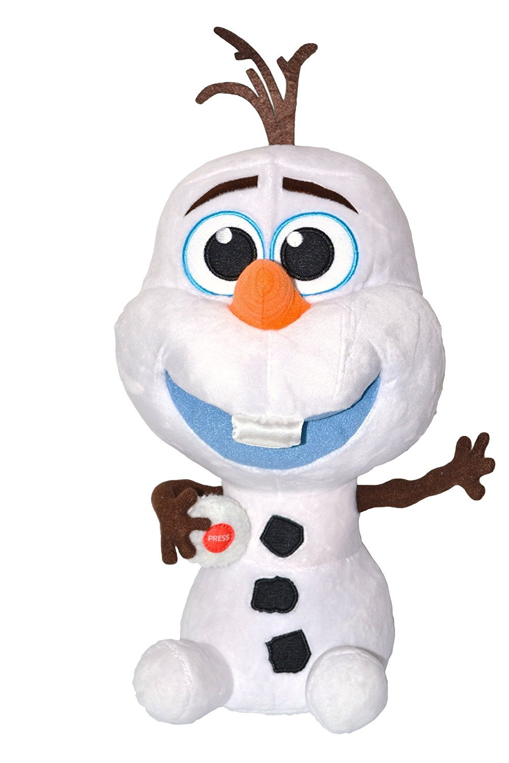 """Disney Frozen Press Button Plush Olaf """"Baby"""" Snowman Saying """"I Love You"""". Total 14"""" Tall. Japan Import."""