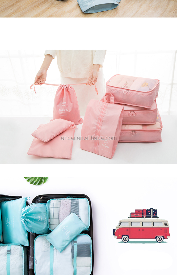 Encai 7 in 1 Travel Bags Luggage Organizer Custom Logo Compressed Packing Cubes