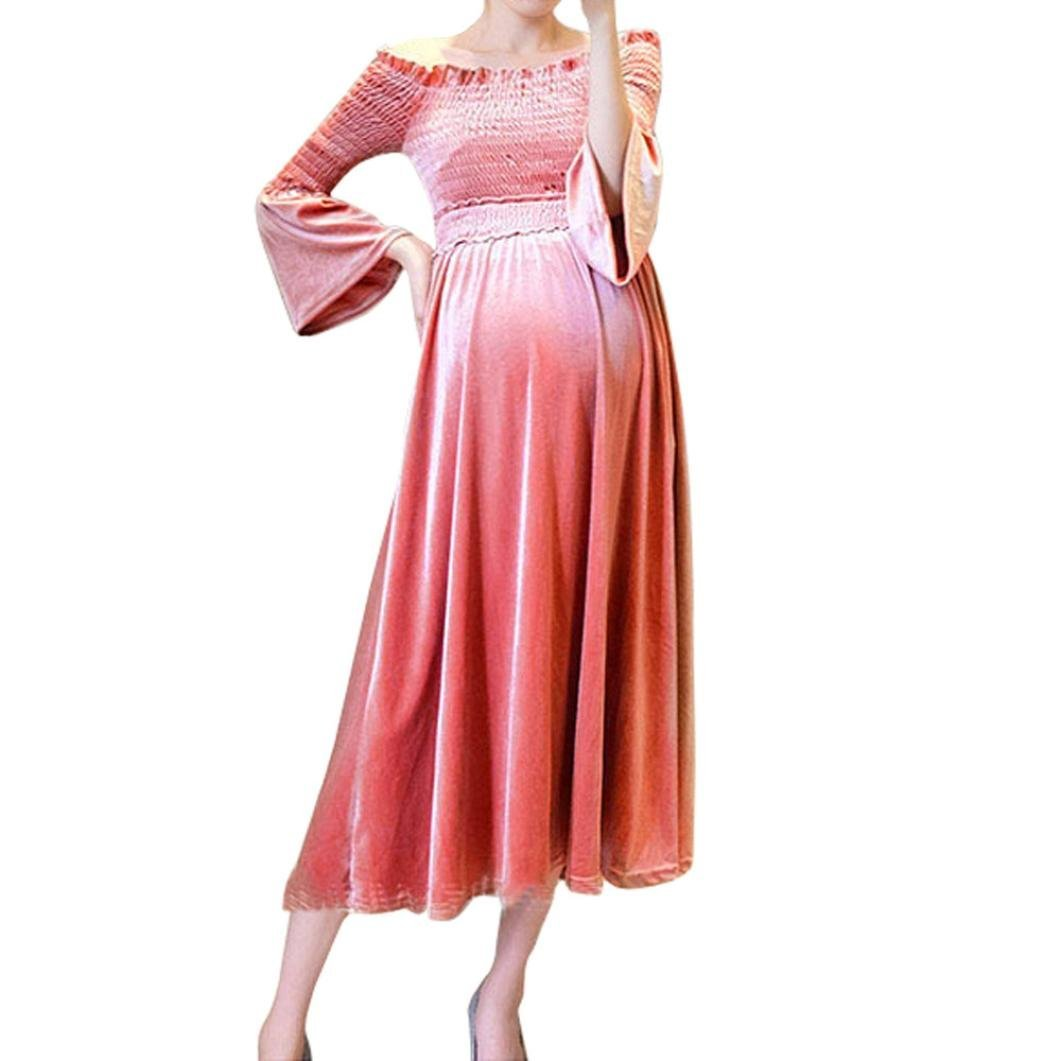 a02fb70396b49 Get Quotations · Off Shoulder Maternity Dress, SUKEQ Elegant Spring Pregnant  Sexy Off Shoulder Flare Sleeve Velvet Empire