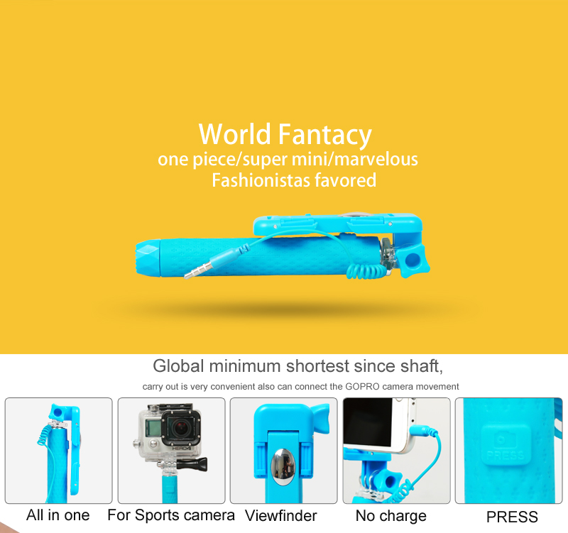 2018 flexible gift design Mini wired selfie stick with cable for smartphone wholesale