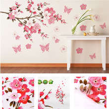 bathroom Flower Butterfly Wall Stickers decal Removable Peach Wall Sticker wallpaper quote poster decor para bedroom decoration