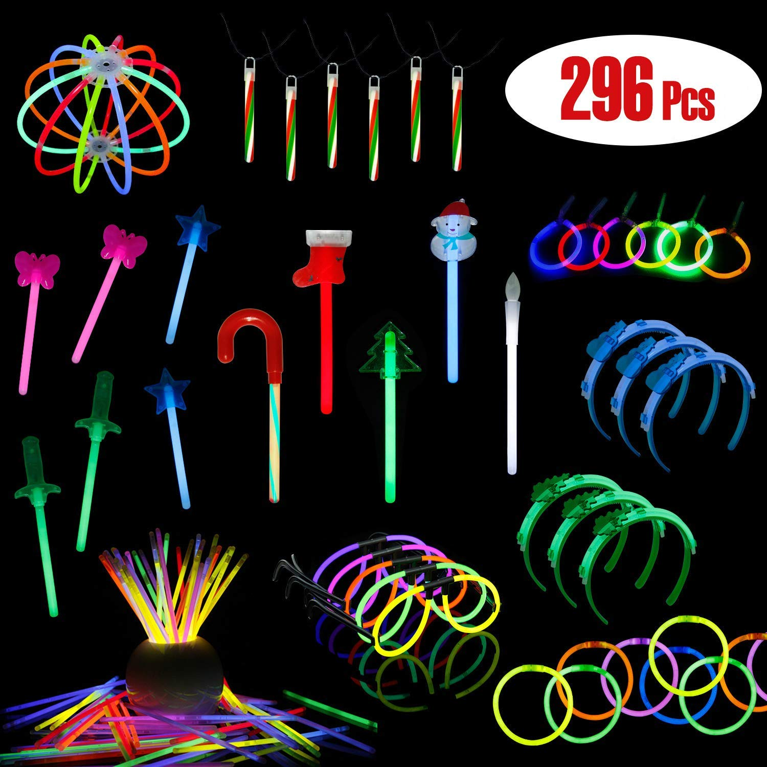 LaRibbons Christmas Glow-in Dark Party Supplies, 296 Pack Glow Sticks in Bulk, Christmas Themed Designer ( Snowman, Christmas Tree, Stocking ) Bracelets, Necklace, Glasses, Magic Wands and More