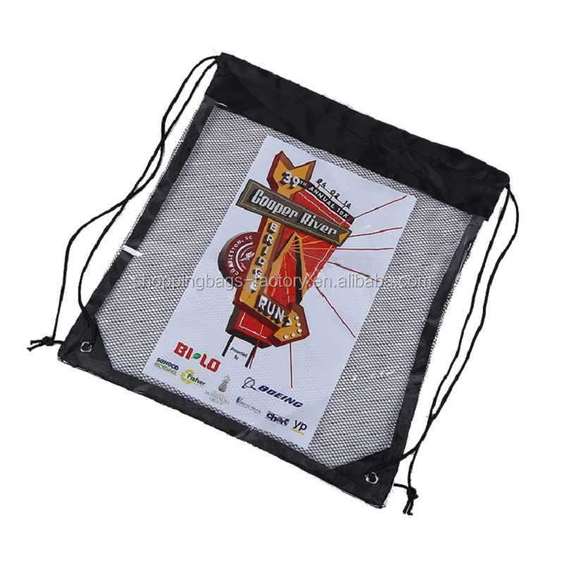 Wholesale 210D Polyester Kids Promotional Customized clear vinyl drawstring bag pvc drawstring bag