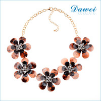 acrylic resin flower rhinestone white diamond necklace choker fabric necklace statement necklace