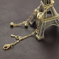 2016 fashion jewelry key anklets wholesale stainless steel women anklets 18k gold plated anklet charm bracelet
