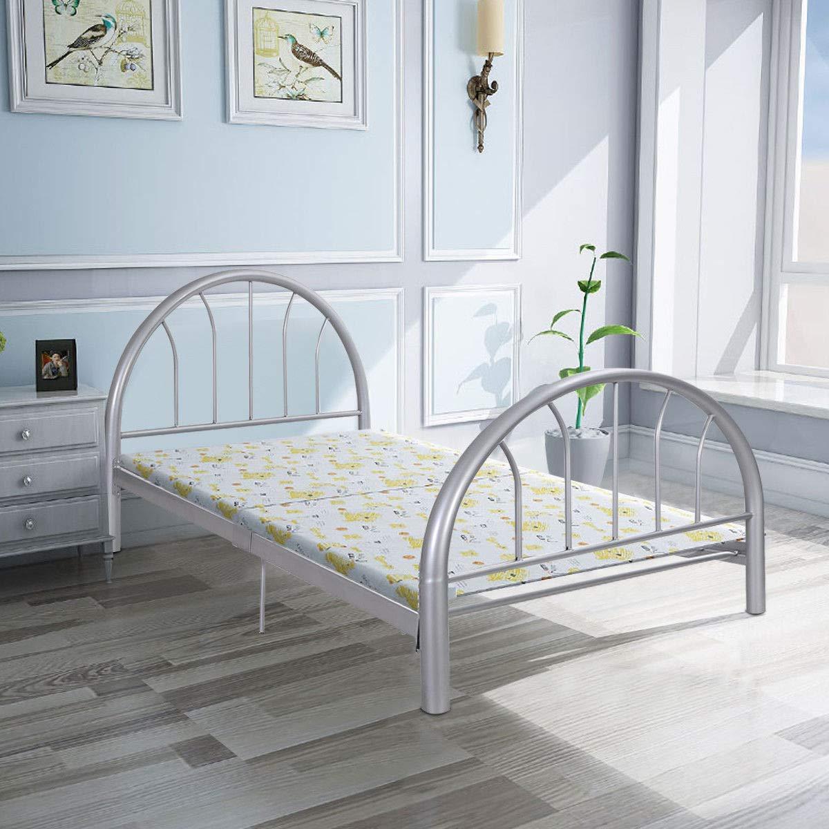 """83""""x42""""x35"""" Sliver Metal Bed Platform Frame Twin Size Bedroom Home Furniture"""