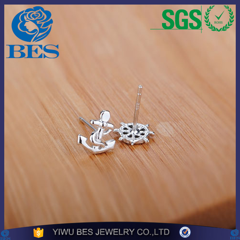 925 Sterling Silver Anchor Stud Earrings For Women Girls Marine Wind Earring Sterling-silver-jewelry Pendientes Brincos