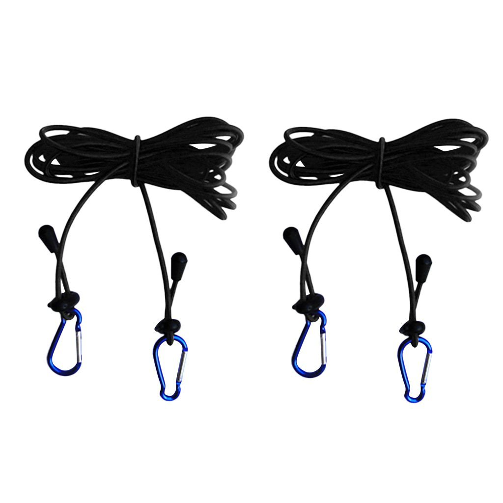 Dovewill Pack of 2 Pieces Black 4mm 12' Strong Elastic Kayak Canoe Boat Tow Line Leash Lanyard with 5inch Snap Hooks