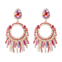 European and American style fashion personality exaggerated earrings tassel rhinestone crystal earrings