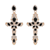 Alloy plated cross personality diamond stud earrings high quality elegant female earrings