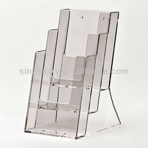 Acrylic 1/3 A4 literature dispenser - stacked 3-tier leaflet files holder