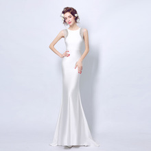 ZHF83 New design white crystal beads sleeveless mermaid party evening dress