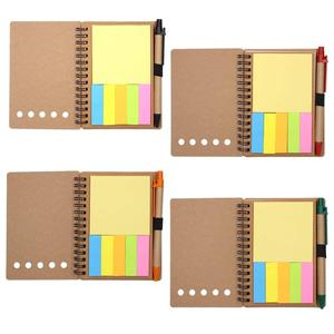 Spiral Notebook Kraft Paper Cover Steno Pocket Notepad with Pen in Holder, Sticky Notes and Page Marker Index Tabs Flags,