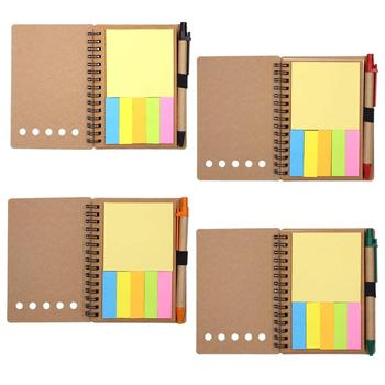 Spiraal Notebook Kraftpapier Cover Steno Pocket Notitieblok met Pen in Houder, sticky Notes en Pagina Marker Index Tabs Vlaggen,