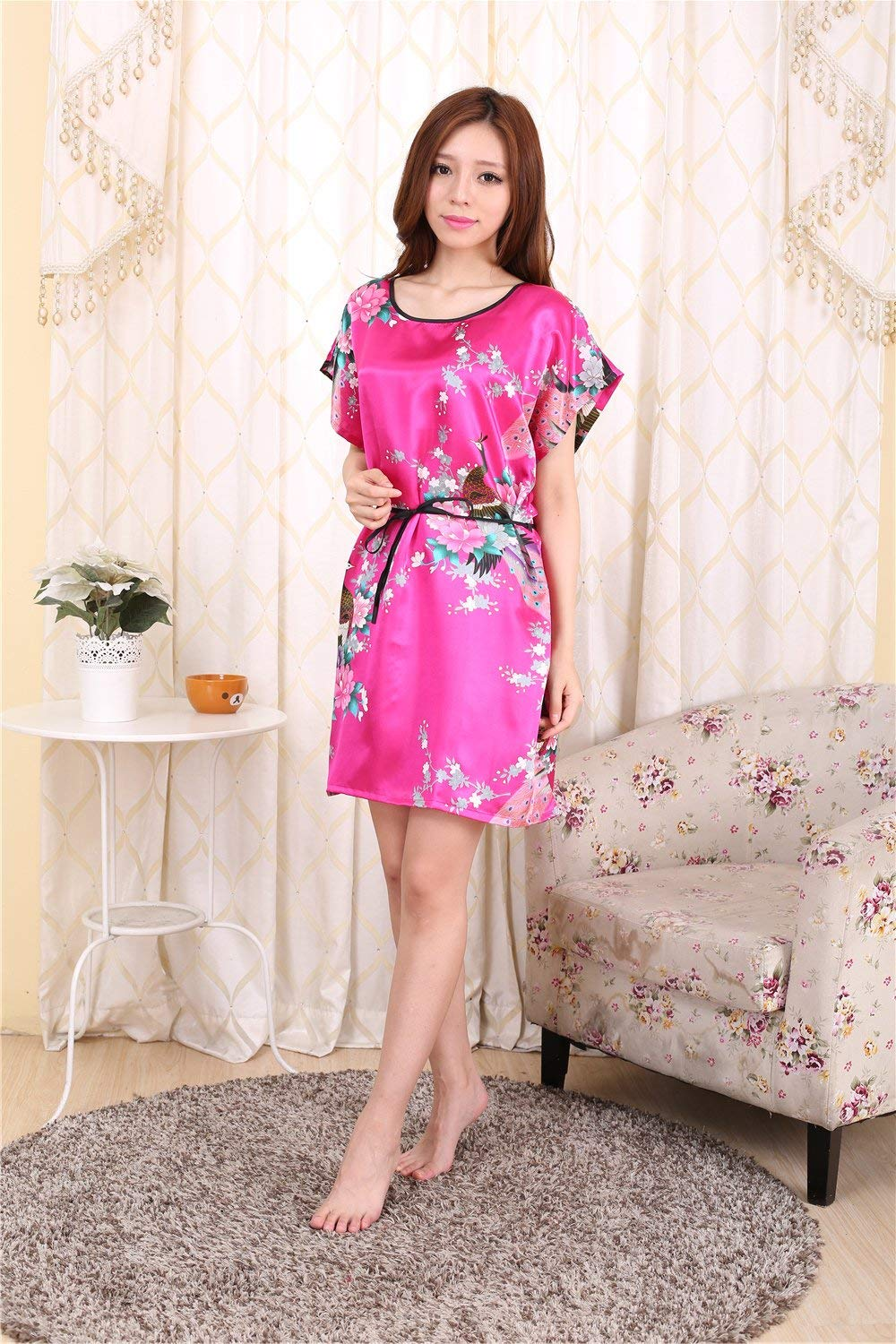 9169323fa1 Get Quotations · ALJL New pajamas women s short sleeves large size silk  pajamas thin home clothing polyester fiber fashion