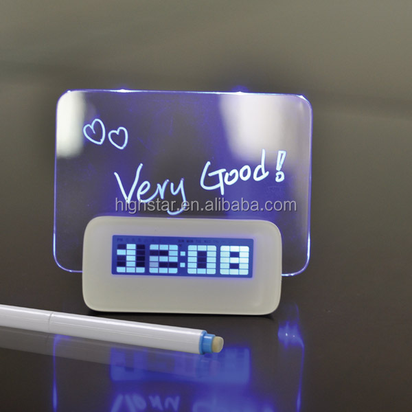 Decrotive LED Message Board Alarm Clock with Blue/Green Backlight