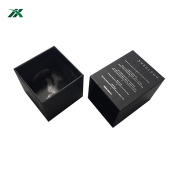 Rigid Cardboard Custom Made Black Paper Decorative Luxury Candle Boxes