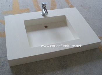 Acrylic Solid Surface Water Proof Bathroom Vanity Countertop With Sink