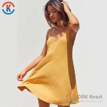 Wholesale 2017 yellow custom sleeveless fashion Wide-Ribbed Knit Slip Dress