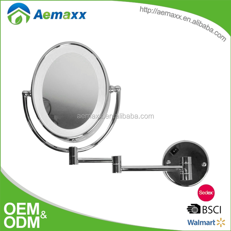 Professional extendable wall mounted round bathroom led light makeup mirrors