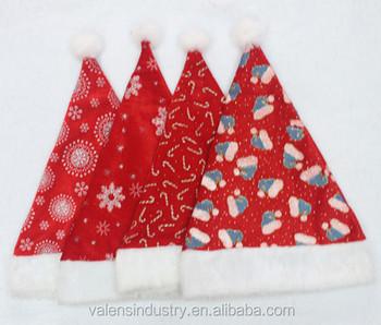 elegant unique colorful velvet santa claus christmas hat with christmas hats wands and snowflowers design