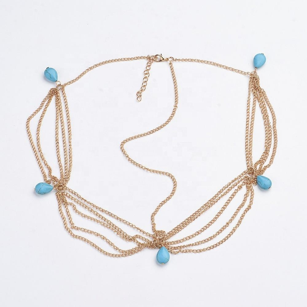 Wholesale Vintage Bohemian Style Turquoise Metal Head Chain <strong>Hair</strong> <strong>Accessories</strong> for Girls