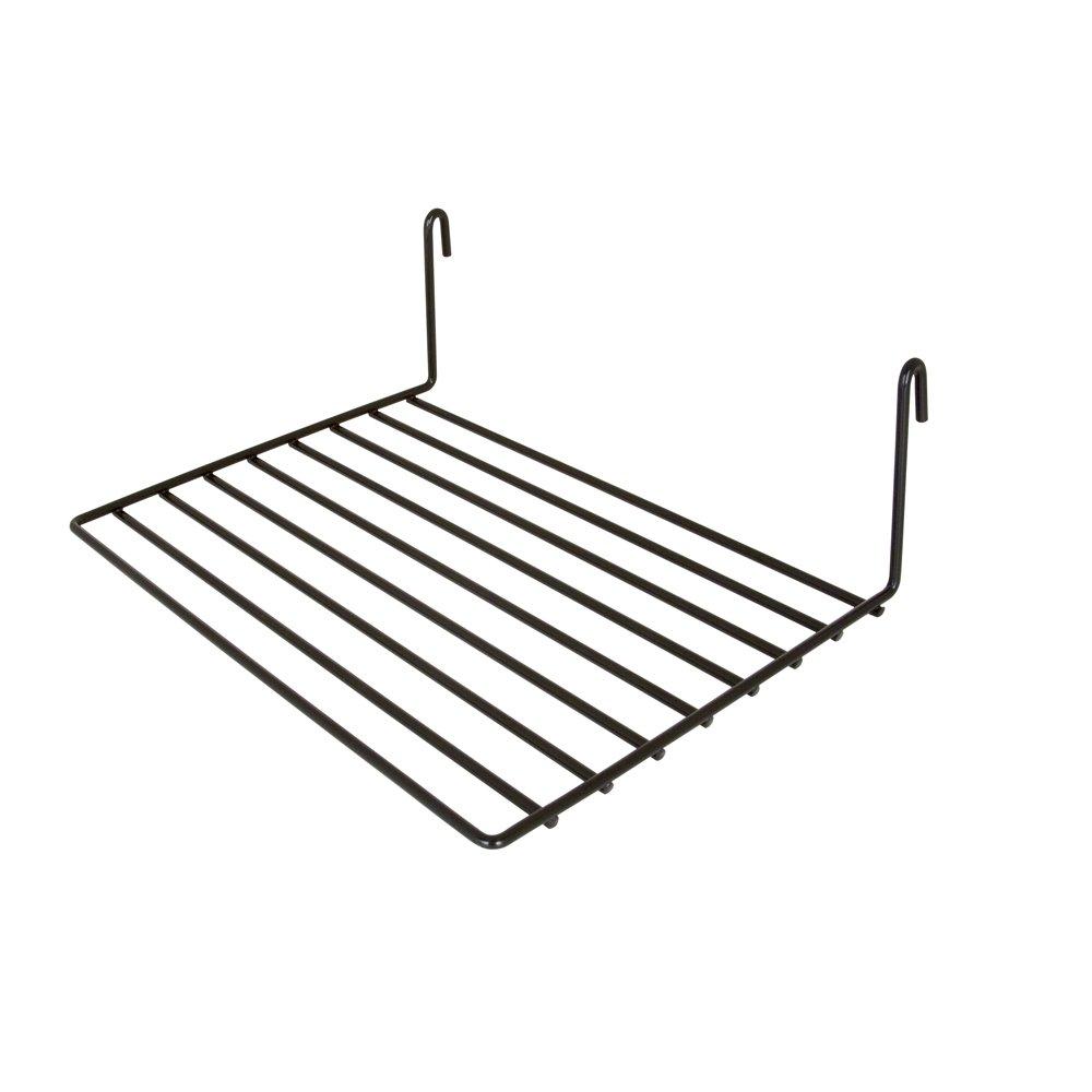 "Display Grid Racks Shelf- Clothing Store Display Shelves, Retail Display Grid, Straight Shelf, 8"" Depth x 12"" Length, Metal With Black Semi-Gloss Finish, Pack Of 6 Grid Rack Shelves"