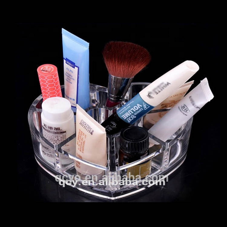 New style clear acrylic heart shape display shelves cosmetics acrylic cosmetic storage box