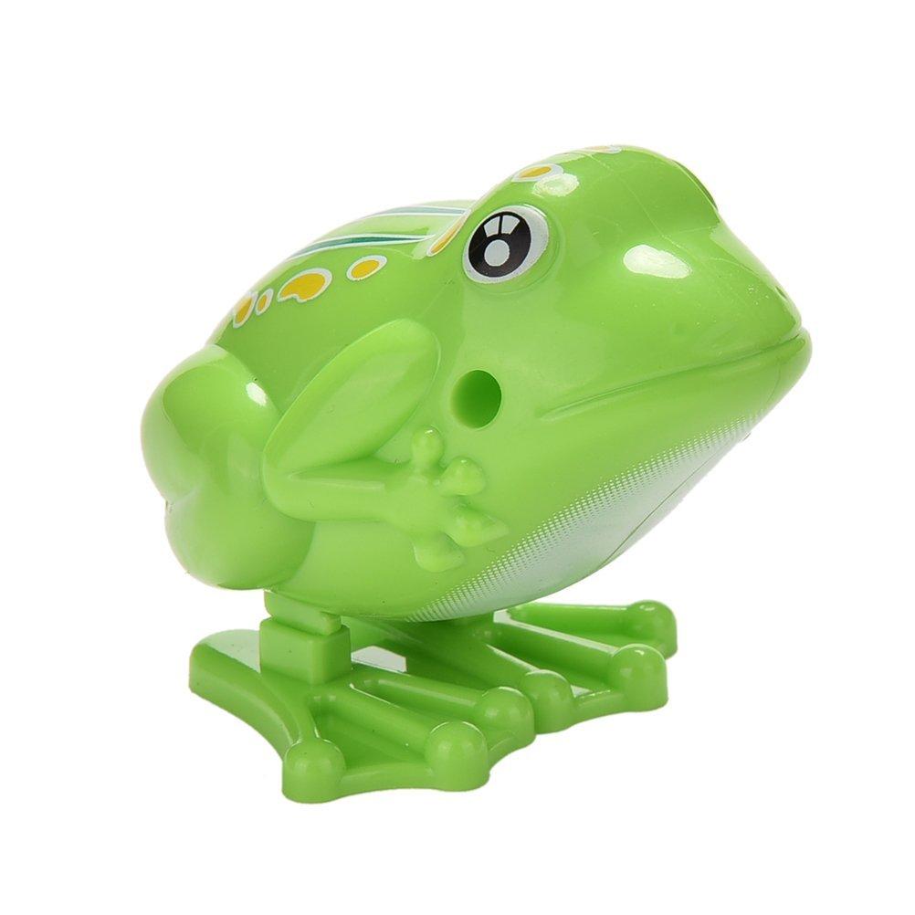 JETTINGBUY 1 Pcs Wind up Frog Plastic Jumping Animal Classic Educational Clockwork Toys