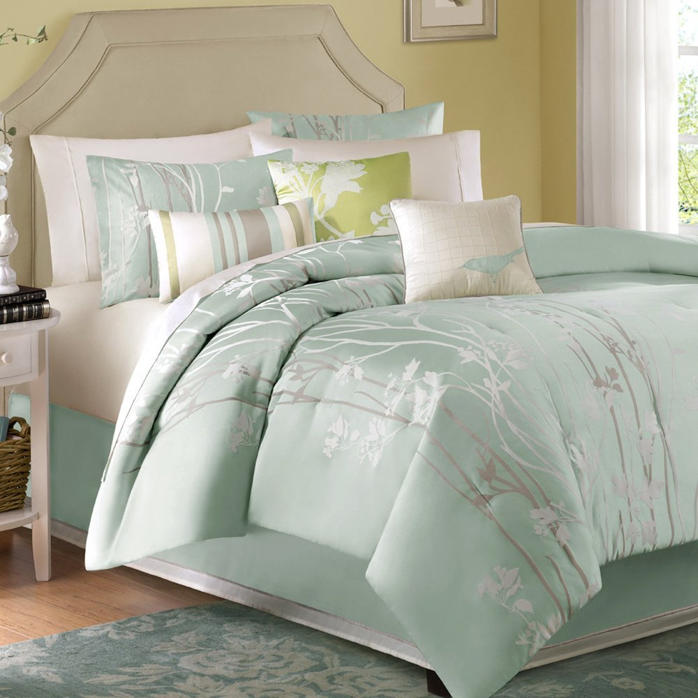 full set white comforter blue and king green paisley k piece