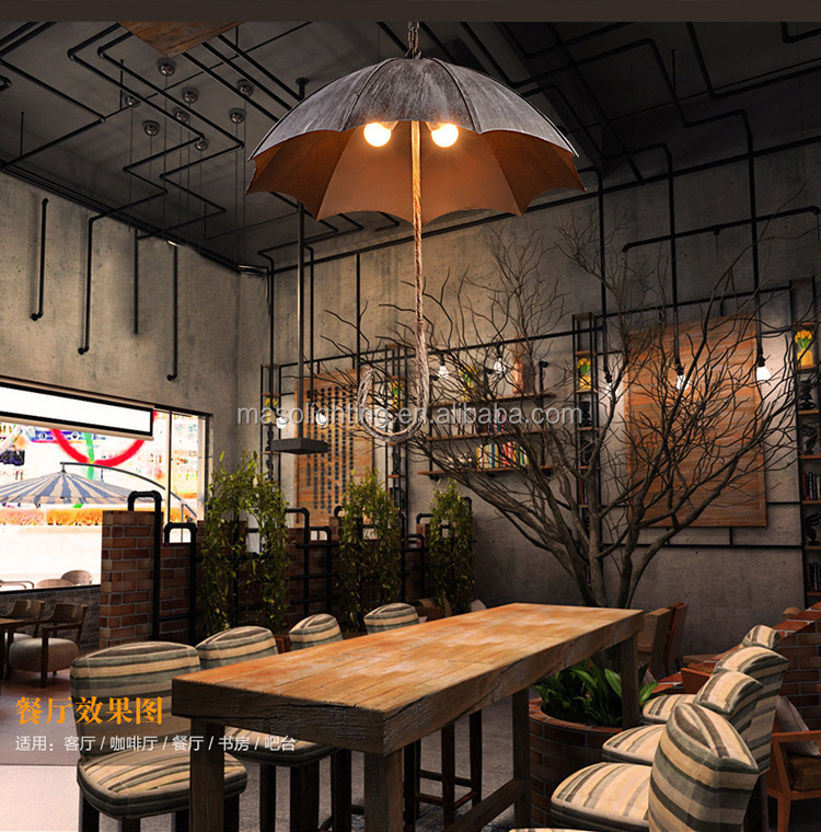 2017 Best Seller LOFT umbrella filament pendant aged steel Vintage industrial indoor pendant light with E27 Edison Bulb MS-P6102