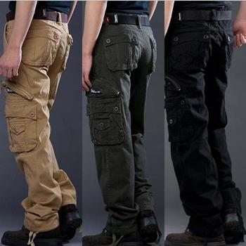 Stock Sport Men Trousers Training Sports Six Pocket Khaki Cotton Work Wholesale % Casual mens cargo pants With Side Pocket