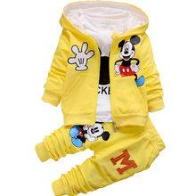 Одежда для отдыха с Микки Маусом для мальчиков и девочек на осень и зиму, костюмы для новорожденных, детская одежда, Детский костюм из 3 предм...(Китай)