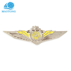 Promotion custom cheap High quality gold pated metal pins pilot wing badge with your logo