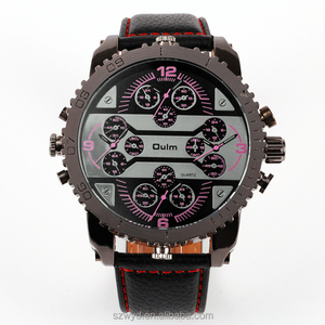 WYD-Q-Oulm 3323 New Arrival Leather Band 4 Time Zones Quartz Watch