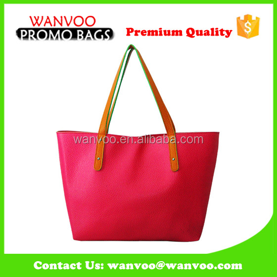 Deep Pink Leather Designer Brand Large Tote Ladies Handbag Beach Shoulder Bag