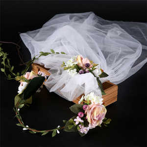 Wholesale Women Bridal Wedding Hair Accessories Flowers Headbands for Girls Fashion Flower veil Wreath Headband Crown