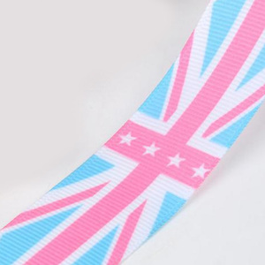 "customised 1"" size 25mm grosgrain printing uk country flag ribbon for bow"