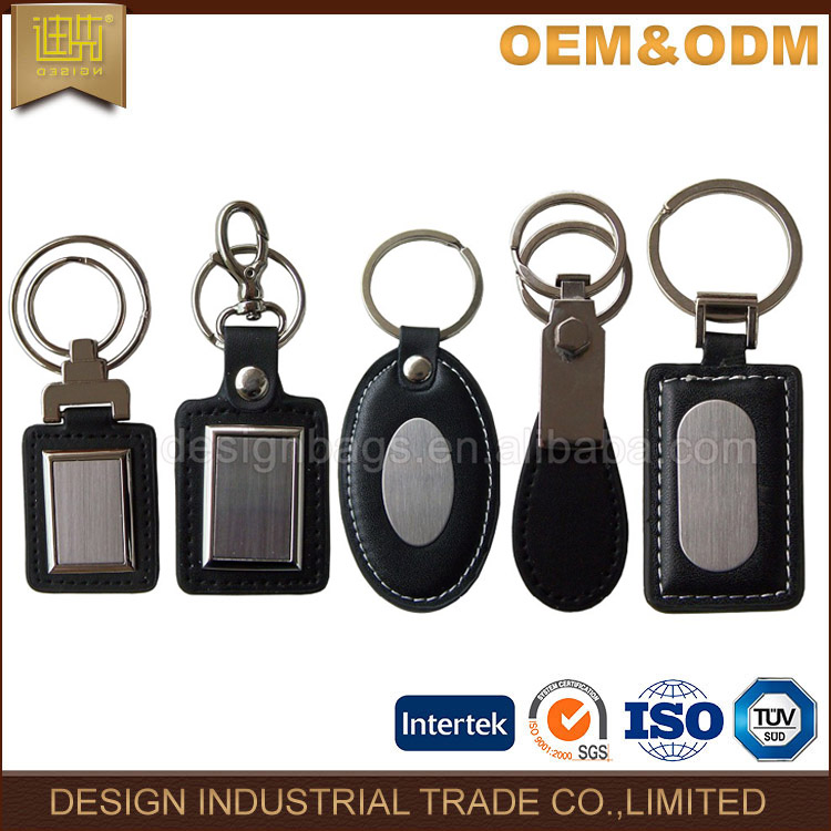 Promotional diverse styles custom metal match leather car key holder / key chain