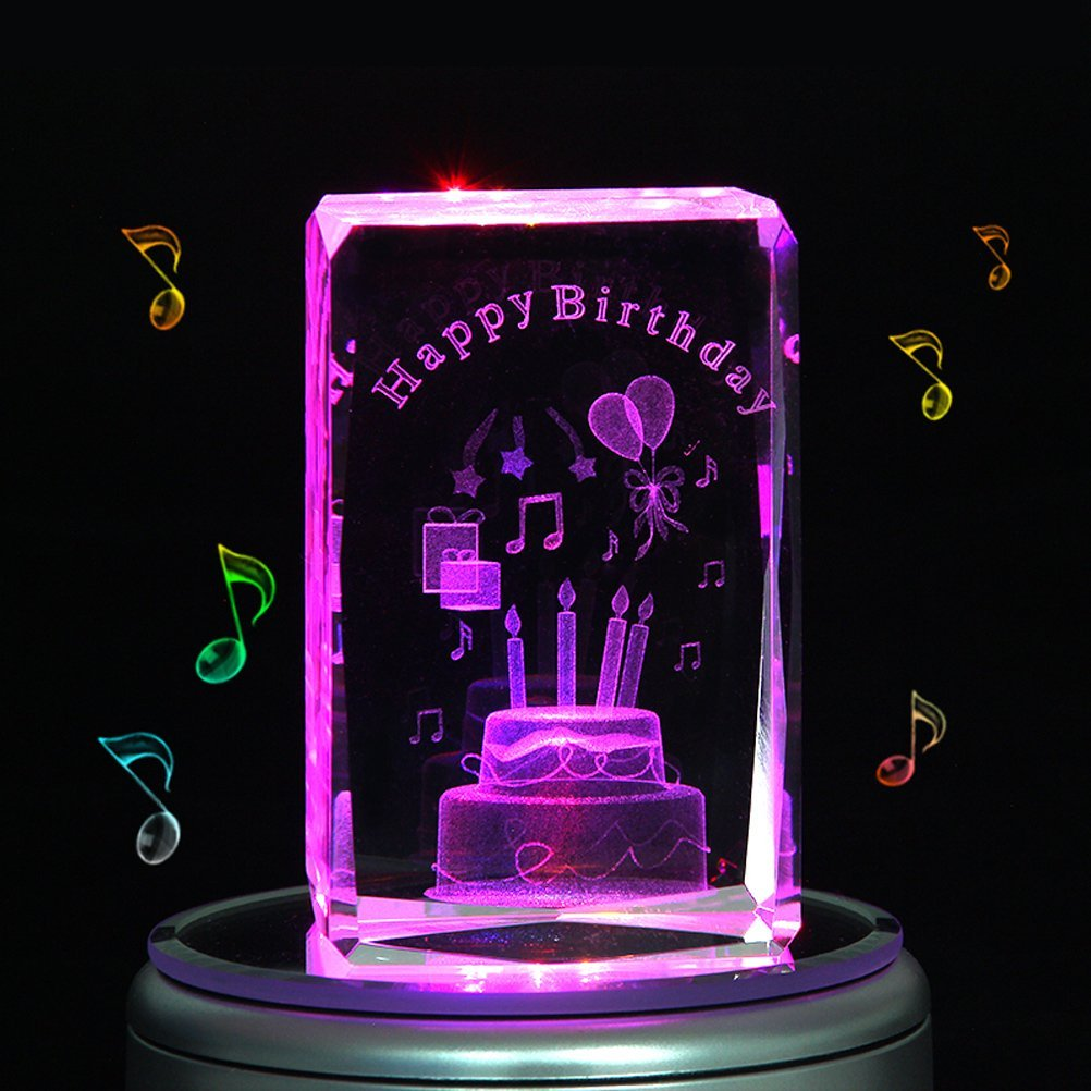 LIWUYOU Christmas Gifts Personalized Custom Text Crystal 3D Birthday Cake Colorful LED Light Rotating Musical Box ,Music base, Small Cake